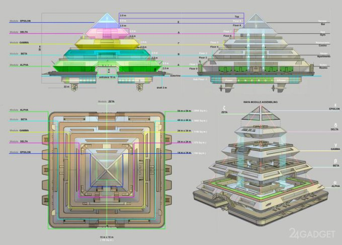Wayaland: плавучий город из домов-пирамид (27 фото)