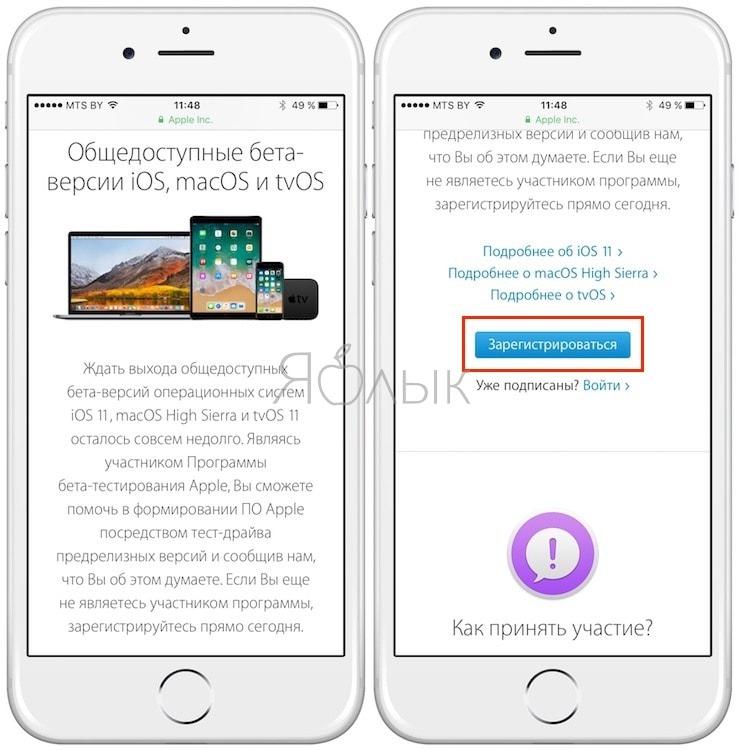 Как зарегистрировать учетную запись участника Программы публичного бета-тестирования iOS 11