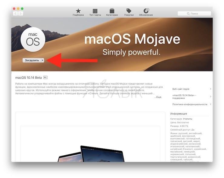 Как скачать бета-версию macOS 10.14 Mojave без аккаунта разработчика