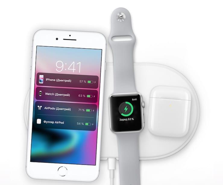 Беспроводная зарядка airpower для iphone 8 apple watch