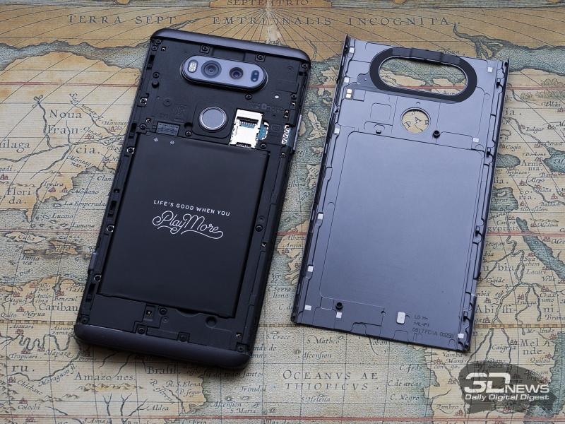 Расположение элементов под батарейной крышкой LG V20