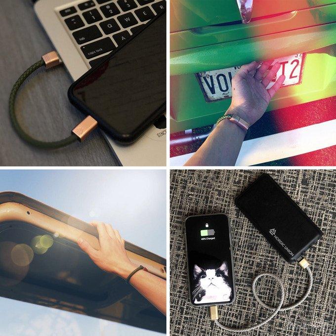 Новый защищённый кабель для зарядки можно носить на руке (7 фото + видео)