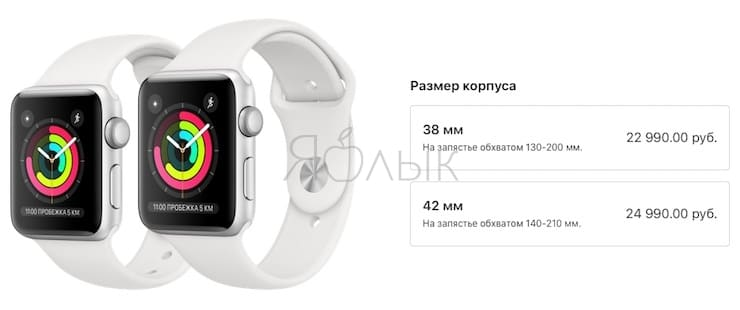 Цены на Apple Watch Series 3