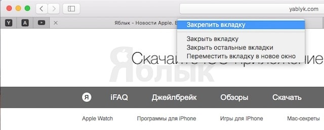 Как закреплять вкладки в Safari на OS X El Capitan