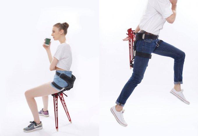 Необычный экзоскелет облегчит ношу и обеспечит стулом для отдыха (7 фото + видео)