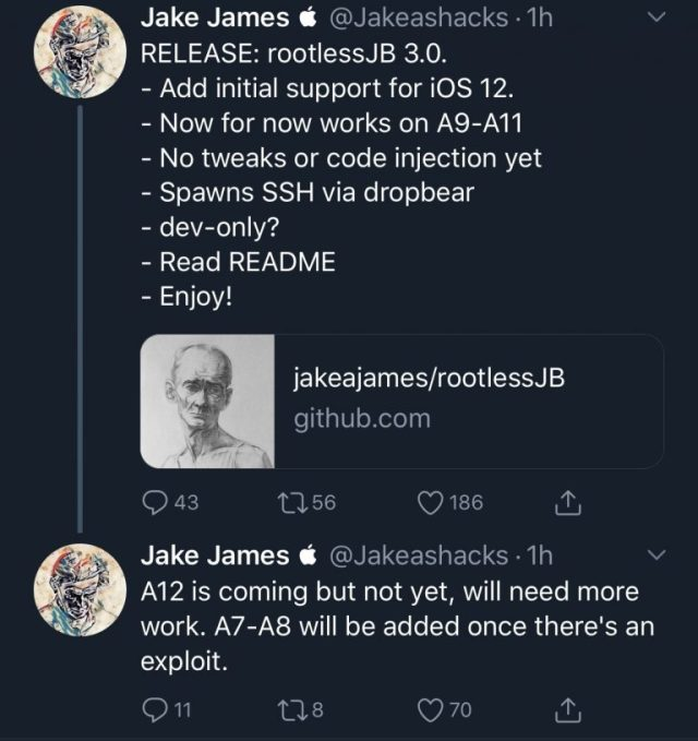 Jake-James-Rootless-Jailbreak-iOS-12-768×815
