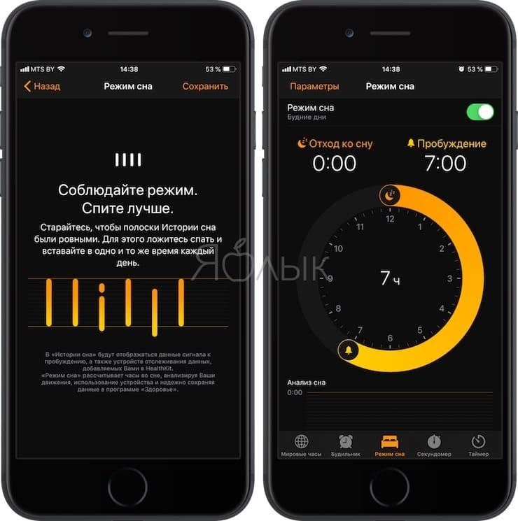 Режим сна – продвинутый будильник в iPhone