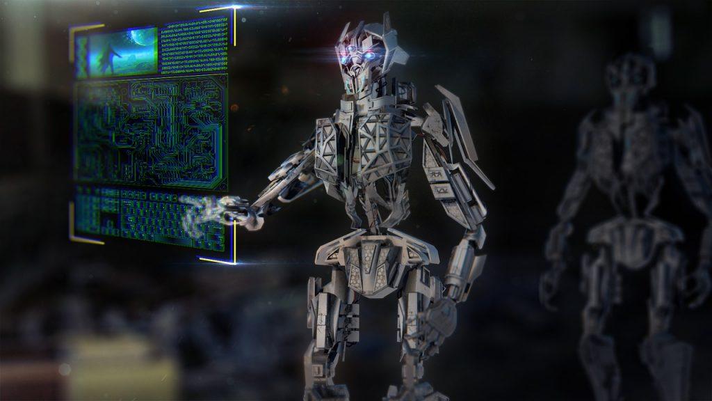 Робот перед экраном