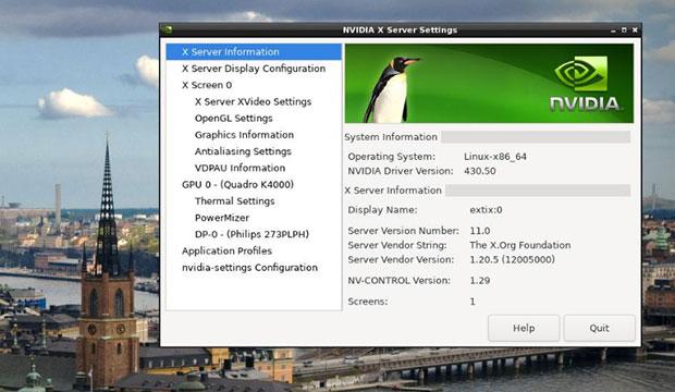 ExTix 19.10 обеспечивает автоматический доступ по умолчанию к графическому драйверу Nvidia.