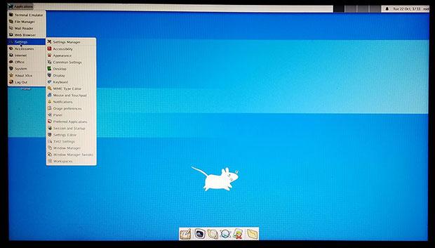 Dragora 3 Beta отображает запущенные приложения на рабочем столе Xfce.