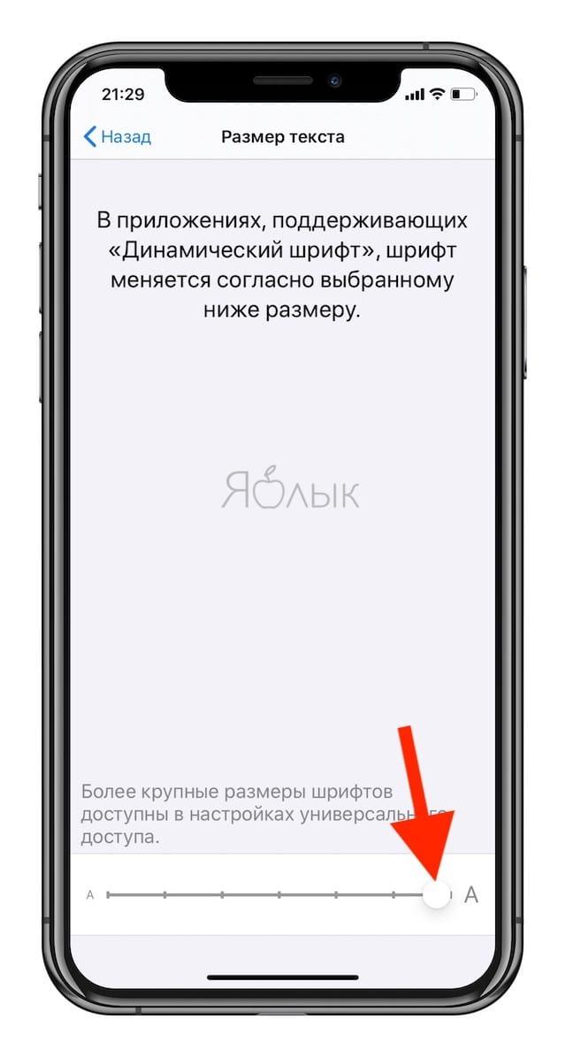 Как увеличить размер текста на iPhone