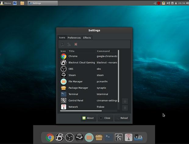 Simplicity Linux Панель и док-станция Cinnamon