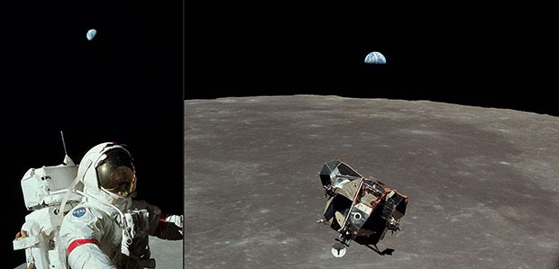 Астронавт и Земля с Аполлона 17, 1972 и Лунный модуль и Земля с Аполлона 11, 1969