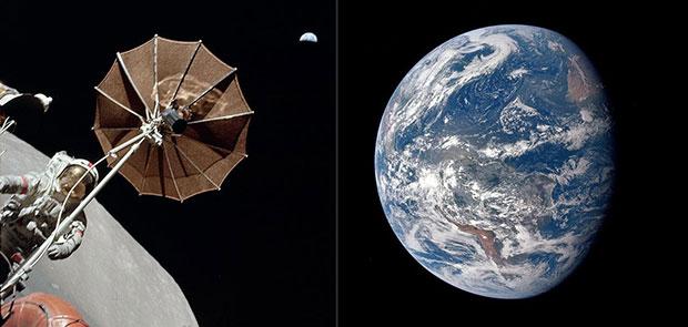 Астронавт и Земля, Аполлон 15, 1971; и Земля Аполлоном 17, 1972.