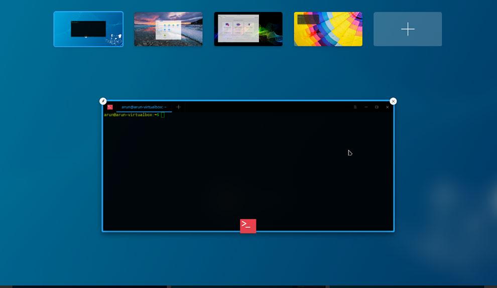 """UbunteeDDE Бета-дисплей виртуального рабочего пространства """"width ="""" 990 """"height ="""" 575 """"/> </p> <p> <span style="""