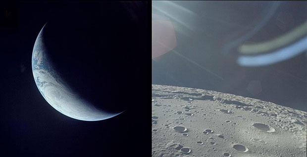 Земля-полумесяц Аполлона 4, ноябрь 1967 года и поверхность Луны Аполлона 12, ноябрь 1969 года.