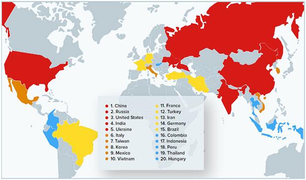 20 стран, использующих пиратское программное обеспечение по состоянию на второй квартал 2019 г.