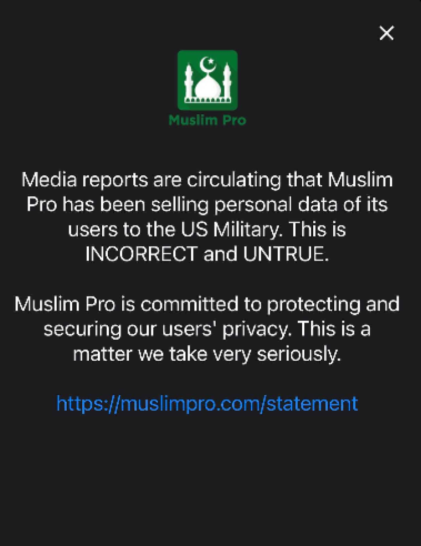 """Снимок экрана с заявлением компании в приложении Muslim Pro."""" Width = """"840"""" height = """"1090"""" />   <div class="""