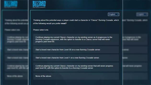 Опрос Blizzard о дополнении The Burning Crusade