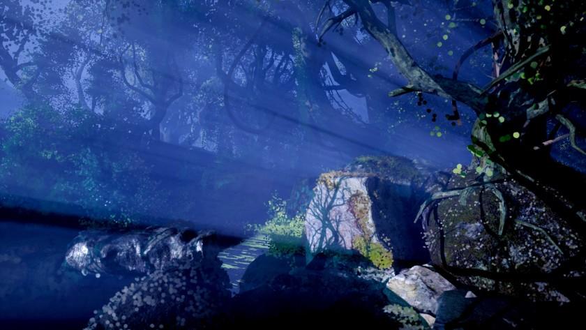 """Свет сияет сквозь туман среди тусклого пейзажа с толстыми деревьями и большим камнем. """"Width ="""" 840 """"height ="""" 473 """"/>   <div class="""