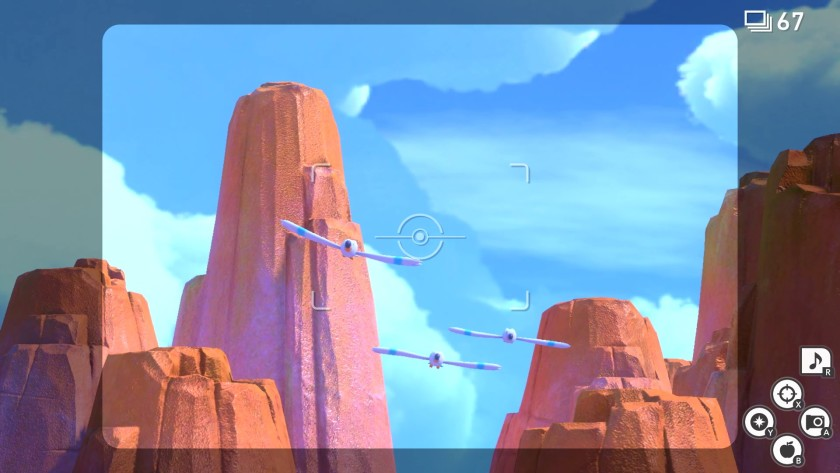 """В «New Pokémon Snap» существа, похожие на самолеты, парят над скалистым ландшафтом, похожим на Долину Монументов. """"Width ="""" 840 """"height ="""" 473 """"/>   <div class="""