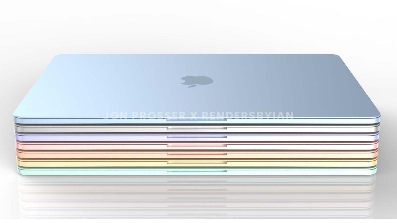 """Стопка тонких и ярких MacBook Air по словам художника по рендерингу. Источник изображения: Front Page Tech """"loading ="""" lazy """"class ="""" img-responsive article-image """"/> </div> <p> <span class="""