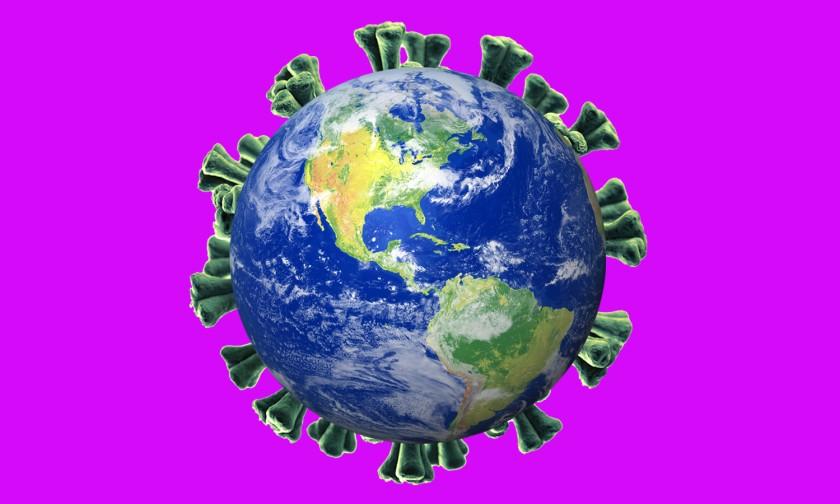 """На иллюстрации сочетаются изображения земного шара и коронавируса. = """"840"""" height = """"504"""" />   <div class="""