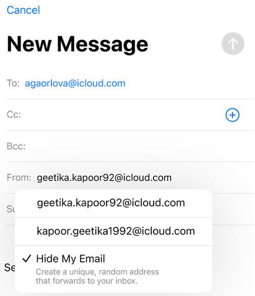 iPhone скрывает мой адрес электронной почты