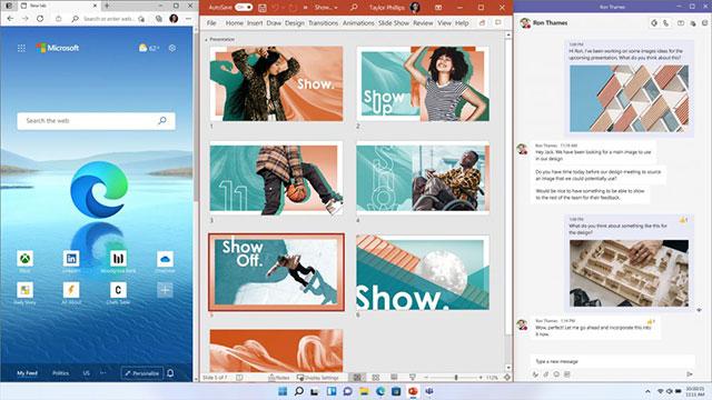 Экран рабочего стола Windows 11 Snap