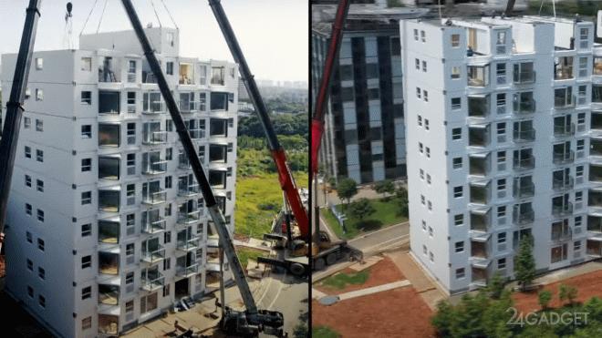 В Китае на строительство 10-ти этажного крупнопанельного дома потребовалось чуть большее суток (2 фото + видео)