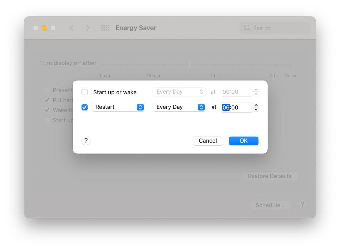 """Если вам нужно перезагрузить Mac только во время сна, это может быть хорошим расписанием для использования Energy Saver. """"height ="""" 964 """"loading ="""" lazy """"class ="""" img-responsive article-image """"/> </div> <p> <span class="""