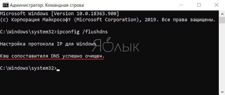 Как очистить кэш DNS в Windows