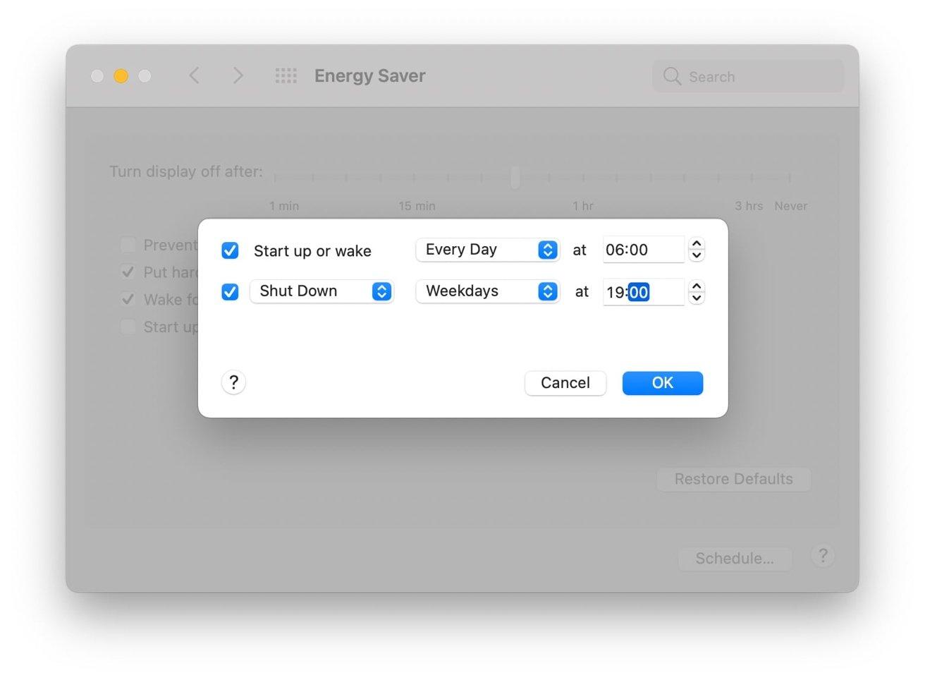 """Если вы хотите, чтобы ваш Mac выключался ночью и включался утром, попробуйте это расписание. """"height ="""" 964 """"loading ="""" lazy """"class ="""" img-responsive article-image """"/> </div> <p> <span class="""