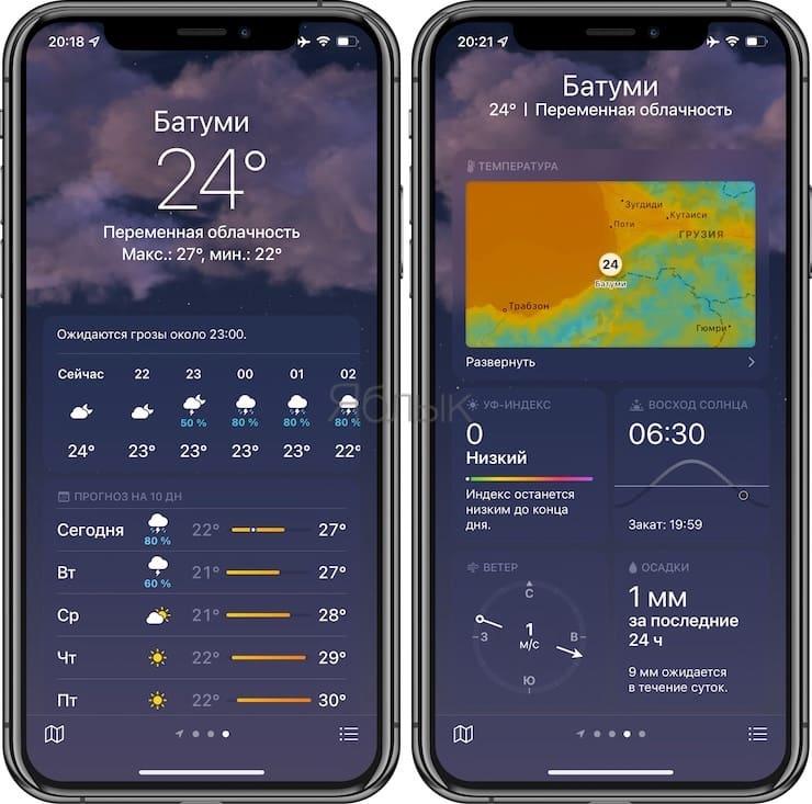 Обзор приложения «Погода»