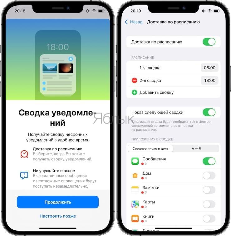 Сводка уведомлений в iOS