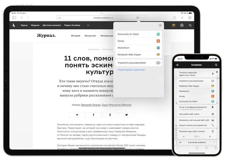 Расширения в Safari на iPhone и iPad