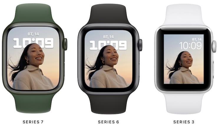 Сравнение размеров дисплеев Apple Watch 7, 6 и 3